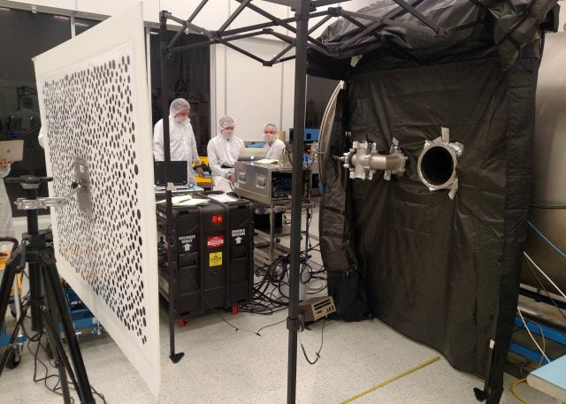 Members of the Mars 2020 Perseverance rover Mastcam-Z calibration group running tests of the Engineering Qualification Model camera at ASU in November, 2018.