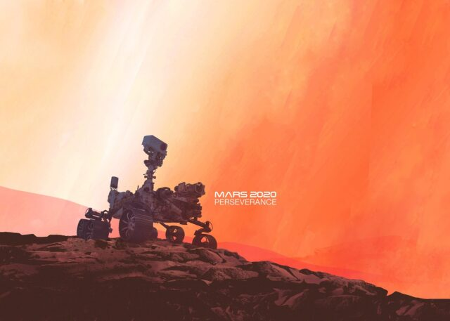 Mars 2020 Perseverance illustrated graphic